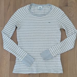 Lacoste long sleeve waffle knit stripe shirt 40